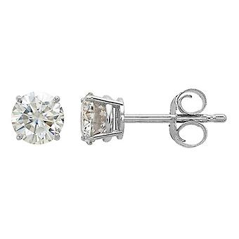 0.58 Carat (ctw) Synthetic Moissanite Solitaire Earrings 4.5mm in 14K White Gold (3/4 Carat Diamond Look)