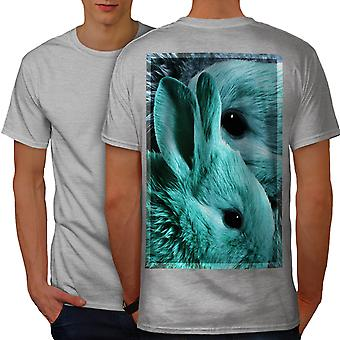 Cute Animal Bunny Face Men GreyT-shirt Back | Wellcoda