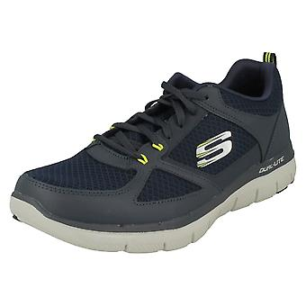 Mens Skechers formateurs occasionnels Lindman 52189 - Navy/Lime cuir - UK taille 12 - UE taille 47,5 - US taille 13