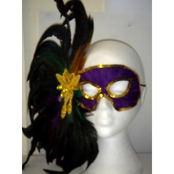Фиолетовый Eyemask с перьями (1)