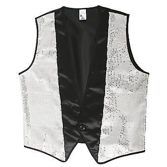 80 'er kostume mænds sølv vest disco moderator hr. kostume