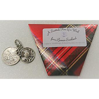 Sixpence Kiss & Wish Charm Red Tartan by Craftilydunn