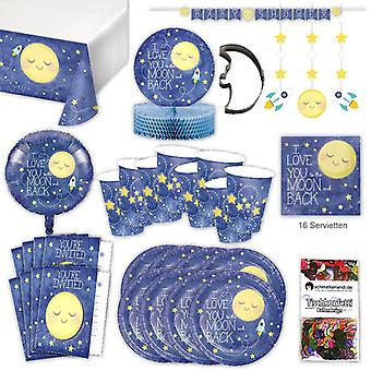Moon Pajama Party set XL 57-teilig 8 guests slumber party baby shower party party package