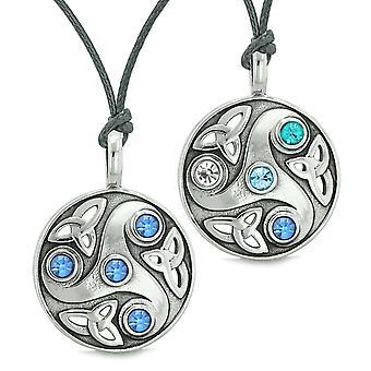 Göttin keltisches Triquetra Amulette Liebe Paare Beste Freunde Set weißen königlichen himmelblau Halsketten
