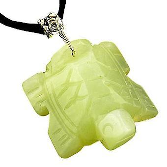 Onnea Talisman onnekas kilpikonna vaalea vihreä Jade kaulakoru