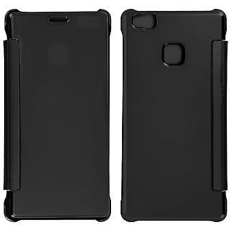 Flip tilfelle, speil sak for Huawei P9 Lite, se gjennom front flip - svart