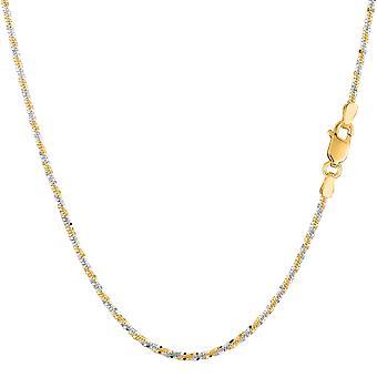 14k 2 tonos amarillo y blanco brillo oro collar de cadena, 1, 5 mm