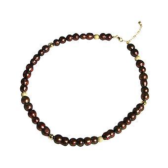 GEMSHINE Halskette Barock Zuchtperlen Tahiti Garnet in 925 Silber oder vergoldet