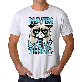 Grumpy Cat Hates Everything Men's White Funny T-shirt