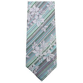 Knightsbridge Neckwear Unique Floral Tie - Grey/Mint