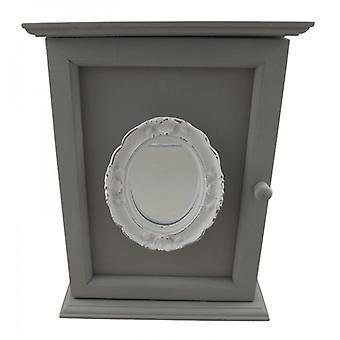 Shabby Chic Grey Mirrored Keybox Hall Decoration