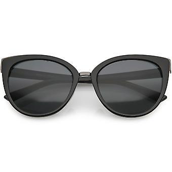 Women's Classic Metal Trim Cat Eye Sunglasses Round Lens 55mm