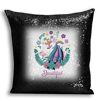 i-Tronixs - Unicorn Printed Design Black Sequin Cushion / Pillow Cover with Inserted Pillow for Home Decor - 13