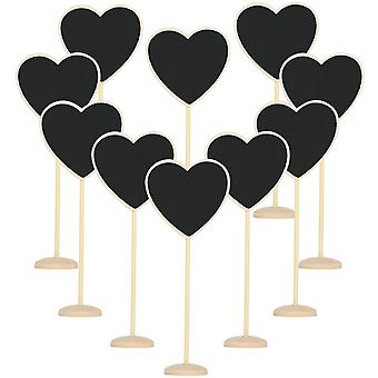 10PC Wooden Chalkboard Hearts Rustic Decorative Table Placements - By TRIXES