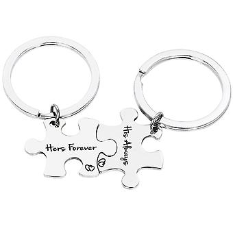 TRIXES His Always Hers Forever Jigsaw Puzzle Metal Keyring-2 Way Split Silver Colour