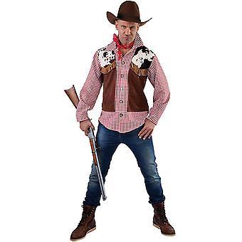 Homens fantasiam colete cowboy + camisa
