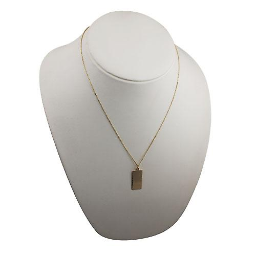 9ct Gold 26x13mm diamond cut edge rectangular Disc with a cable Chain 20 inches