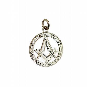 9ct золота 21 мм ручной гравировкой масонской эмблеме в круг с G Кулон