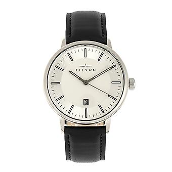 Elevon Vin Leather-Band Watch w/Date - Silver