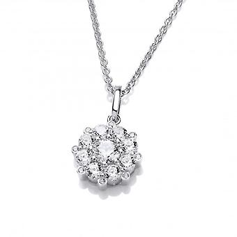 Cavendish French Silver and Cubic Zirconia Forget Me Not Necklace
