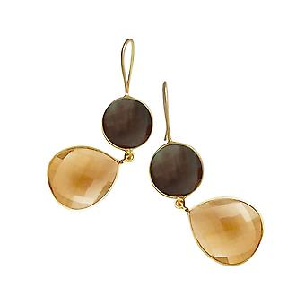 Gemshine örhängen Citrin och rökig kvarts droppar i 925 silver eller guldpläterad