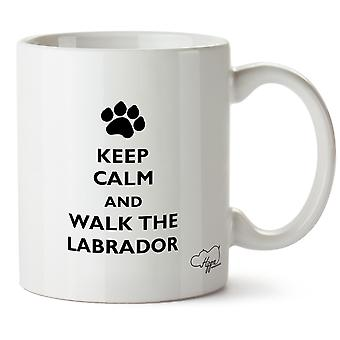Hippowarehouse halten Sie Ruhe und zu Fuß den Labrador Hund gedruckt Mug Tasse Keramik 10oz