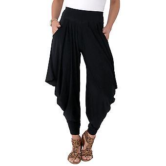 KRISP mujeres Hareem Harem pantalones pantalones Leggings Genie ancho alta cintura bolsillos acampanados
