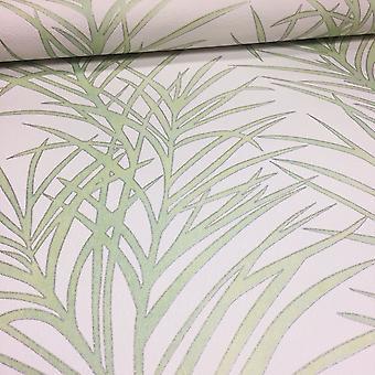 Floral Leaf Wallpaper Flower Palm Tree White & Green Paste The Wall Erismann