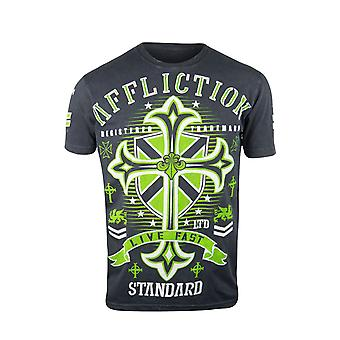 Affliction Mens Standard Attack T-Shirt - Black/Green/White