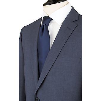 Dobell Mens Mississippi blå dressjakke skreddersydd passform hakk jakkeslaget