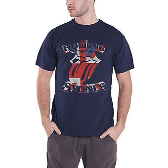 The Rolling Stones T Shirt British Flag Tongue Band Logo Official Mens Navy Blue
