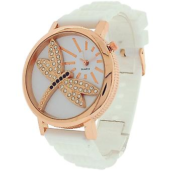 Relda Ladies Dragonfly Dial with Crystals White Rubber Strap Watch REL37