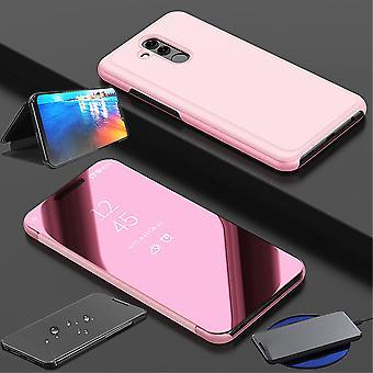 Für Huawei P30 Lite Clear View Spiegel Mirror Smartcover Pink Schutzhülle Cover Etui Tasche Hülle Neu Case Wake UP Funktion