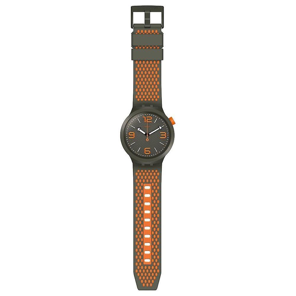 Swatch So27m101 Big Bold Bbbeauty Orange & Khaki Silicone Watch