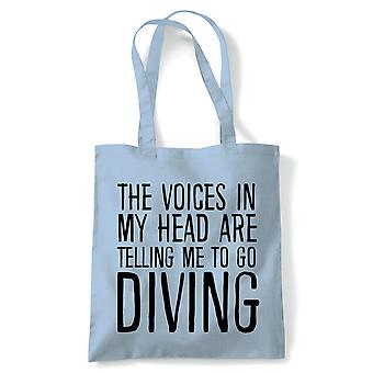 Voices In My Head Diving, Tote - Reusable Shopping Canvas Bag Gift