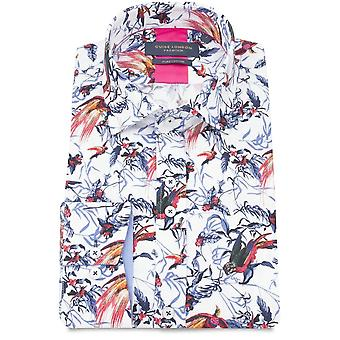 Guide London Birds On Leaves Print Pure Cotton Long Sleeve Mens Shirt
