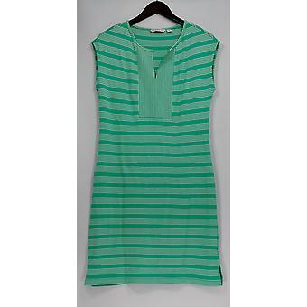 Isaac Mizrahi Live! Kjole ermeløs stripete strikk grønn A276749