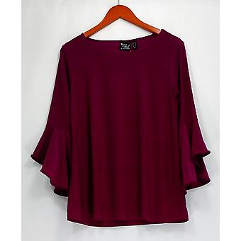Women with Control Top 3/4 Bell Sleeve Rounded Neckline Purple A301383