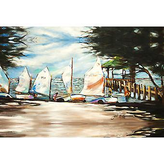Carolines Treasures  JMK1077PLMT Sailing Lessons Sailboats Fabric Placemat