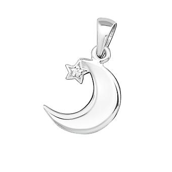 Crescent Moon - 925 Sterling Silver Jewelled Pendants - W19365x
