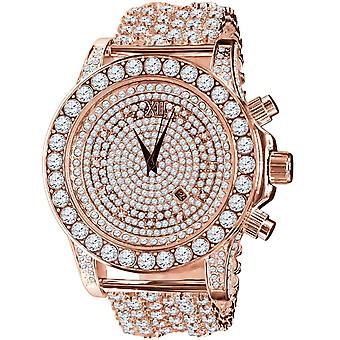 BURNISH alta calidad COMPLETA ICED OUT ZIRKONIA Reloj - oro rosa