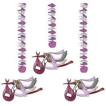 Rotorspirale Geburt Mädchen rosa 3 St. Girlande Babyparty Baby Deko