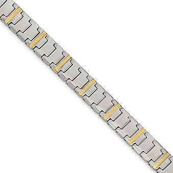Wolfram mit 14k poliert Armband - 8,75 Zoll