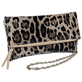 Frank Lyman Fold Over Leopard Print Clutch Bag