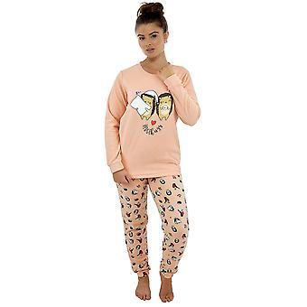 Naiset Hedghog Painettu Design Microfleece Long Twosie Sleepwear - Persikka - 8-10