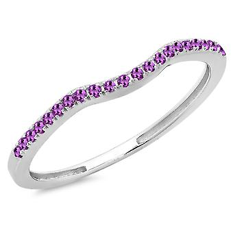 Dazzlingrock Collection 0.15 Carat (ctw) 10K Round Amethyst Anniversary Wedding Guard Band, White Gold