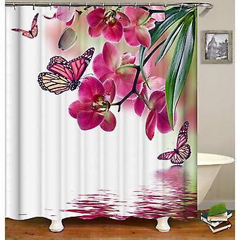 Pinkish Butterflies And Flowers Shower Curtain