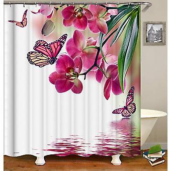 Vaaleanpunainen Perhoset ja kukat suihku verho