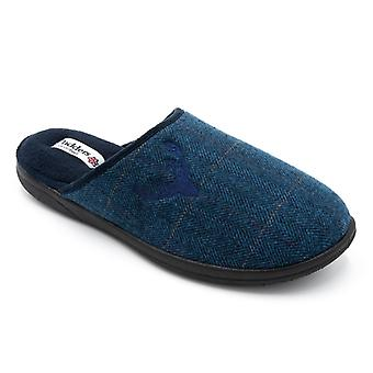 Padders Stag Mens Textile Wide (g Fit) Mule Slippers Navy Combi