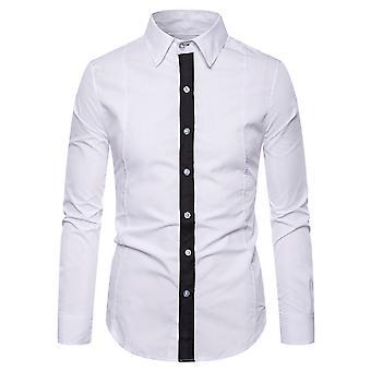 Allthemen الرجال & apos;ق مدببة طوق أبيض أسود خط طويل الأكمام قميص